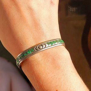 Silver Blue-Green Heart Waves Bracelet